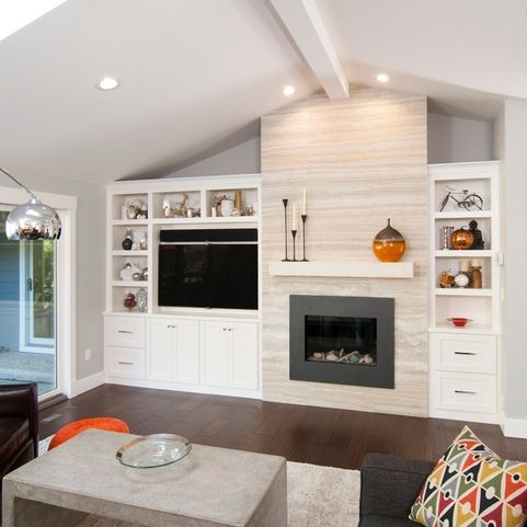 Wall Units with Fireplace Lates asymetrical Built In Bookcase with Tv and Fireplace Design Ideas